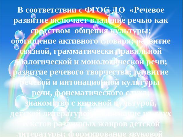 В соответствии с ФГОС ДО «Речевое развитие включает владение речью как средс...