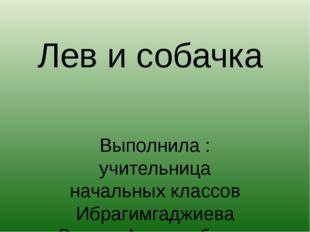 Лев и собачка Выполнила : учительница начальных классов Ибрагимгаджиева Раиса
