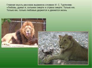 Главная мысль рассказа выражена словами И. С. Тургенева: «Любовь, думал я, си