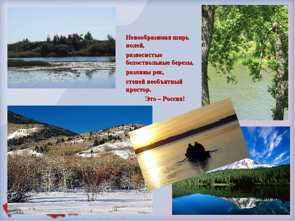 Невообразимая ширь полей, развесистые белоствольные березы, разливы рек, степ...