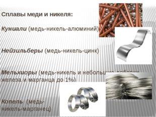 Сплавы меди и никеля: Куниали (медь-никель-алюминий) Нейзильберы (медь-никель