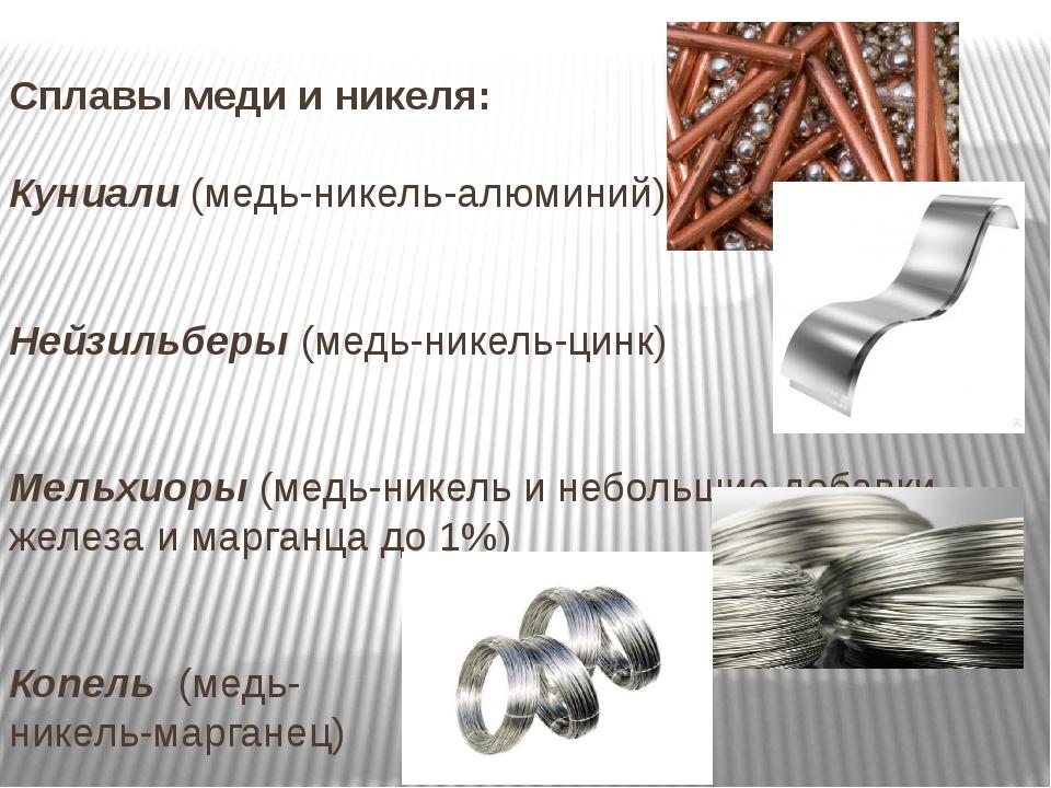 Сплавы меди и никеля: Куниали (медь-никель-алюминий) Нейзильберы (медь-никель...