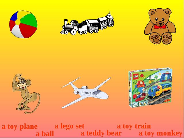 a toy plane a ball a lego set a teddy bear a toy train a toy monkey