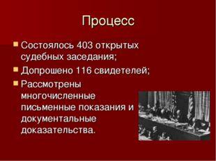 Процесс Состоялось 403 открытых судебных заседания; Допрошено 116 свидетелей;