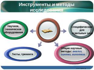 Инструменты и методы исследования Специфические для отдельных наук Научное, т
