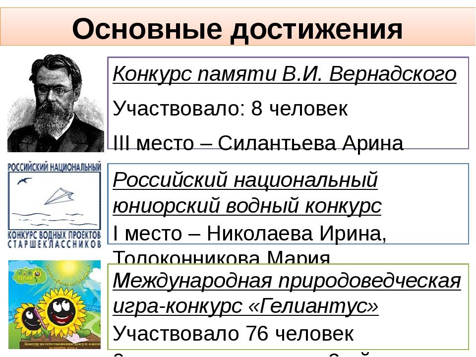 Основные достижения Конкурс памяти В.И. Вернадского Участвовало: 8 человек II...