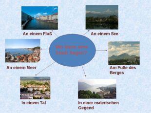 Wo kann eine Stadt liegen? An einem Fluß An einem See An einem Meer Am Fuße d