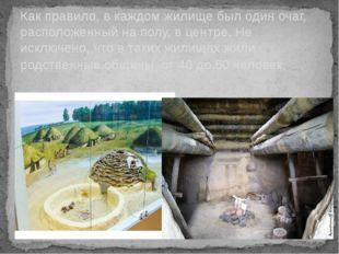 Как правило, в каждом жилище был один очаг, расположенный на полу, в центре.