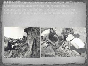 В 1981-1983 годы Археологическая экспедиция Северо-Казахстанского университет