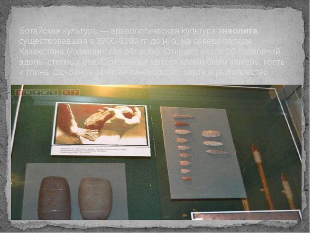 Ботайская культура — археологическая культура энеолита, существовавшая в 3700...
