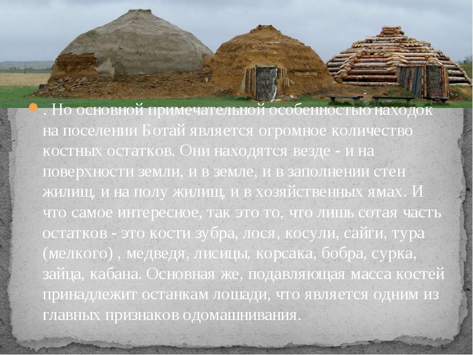 . Но основной примечательной особенностью находок на поселении Ботай является...