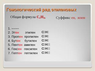 Гомологический ряд этиленовых Общая формула CnH2n Суффикс ен, илен 1. -------