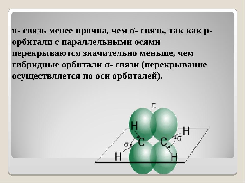 π- связь менее прочна, чем σ- связь, так как p- орбитали с параллельными ося...
