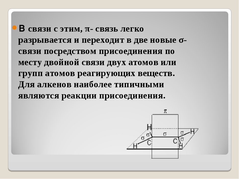 В связи с этим, π- связь легко разрывается и переходит в две новые σ- связи п...