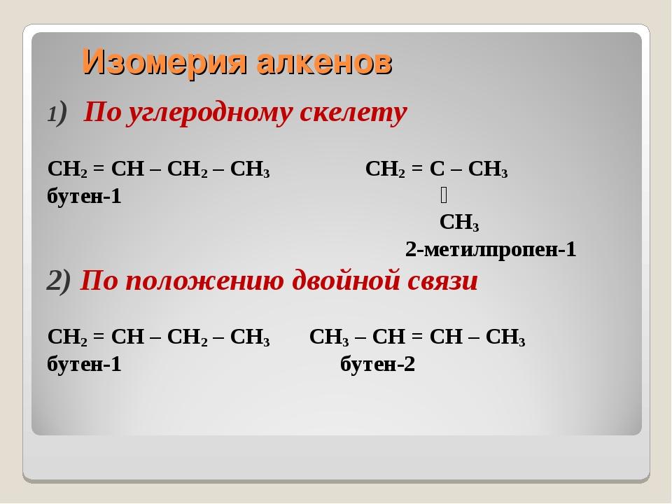 1) По углеродному скелету CH2 = CH – CH2 – CH3 CH2 = C – CH3 бутен-1 ׀ CH3 2-...