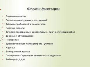 Формы фиксации Оценочные листы Листы индивидуальных достижений Таблицы требов