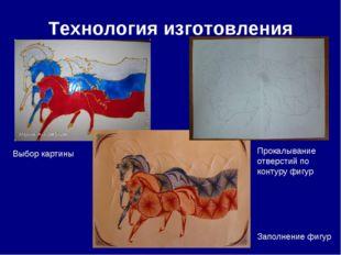 Технология изготовления Выбор картины Прокалывание отверстий по контуру фигур