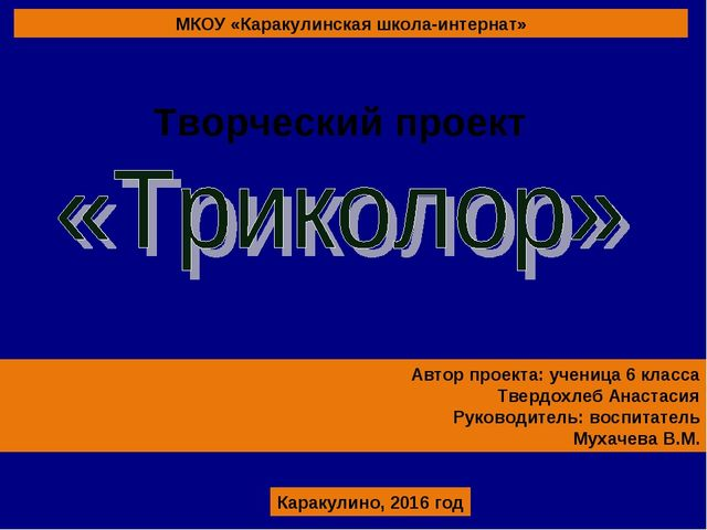 МКОУ «Каракулинская школа-интернат» Автор проекта: ученица 6 класса Твердохле...