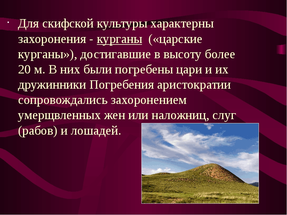 Для скифской культуры характерны захоронения -курганы(«царские курганы»),...