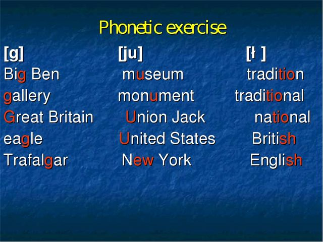 Phonetic exercise [g] [ju] [∫] Big Ben museum tradition gallery monument trad...