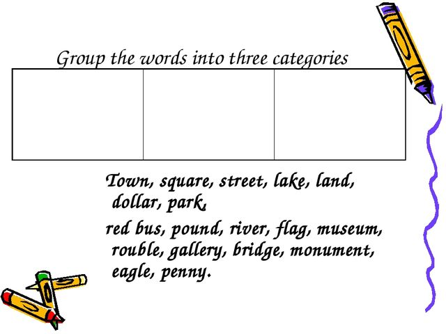 Group the words into three categories Town, square, street, lake, land, dolla...