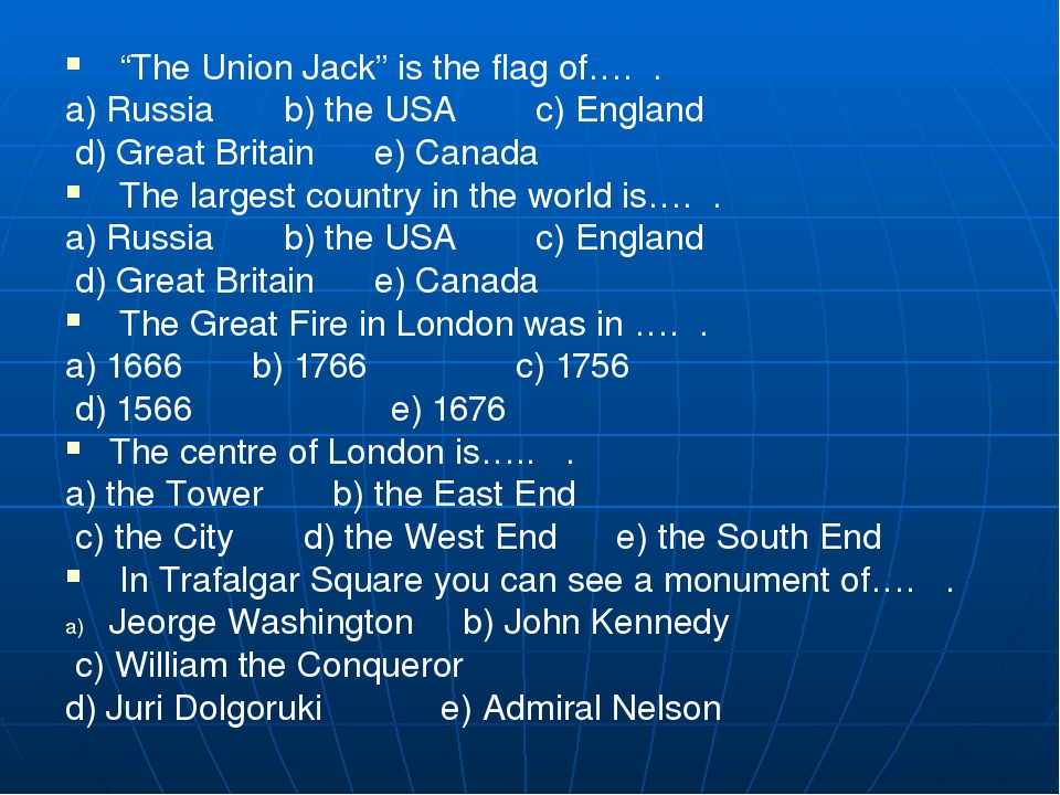 """""""The Union Jack"""" is the flag of…. . a) Russia b) the USA c) En..."""