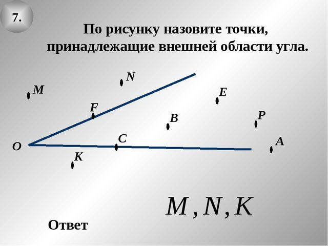 7. О В А По рисунку назовите точки, принадлежащие внешней области угла. Ответ...