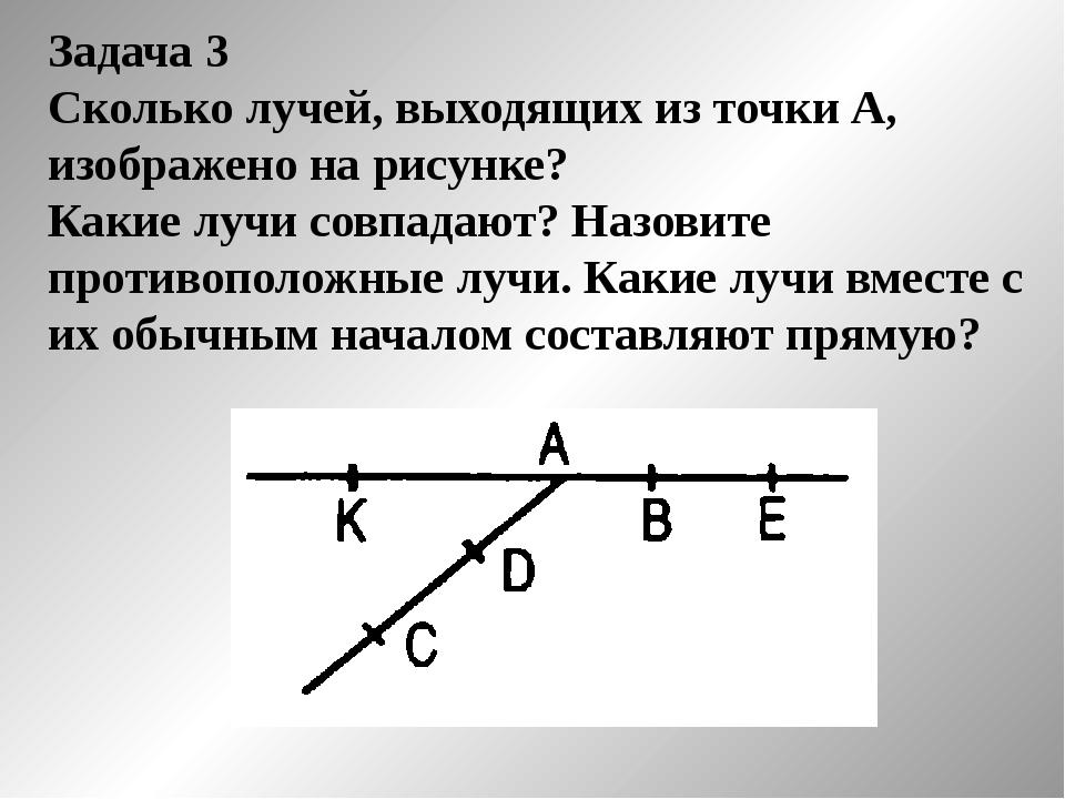 Задача 3 Сколько лучей, выходящих из точки А, изображено на рисунке? Какие лу...