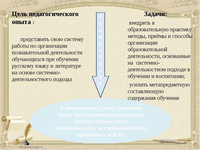 Цель педагогического опыта : представить свою систему работы по организации п...