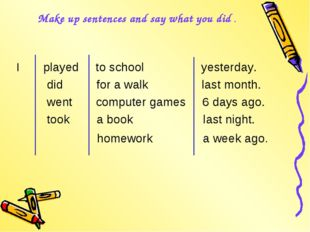 Make up sentences and say what you did . I played to school yesterday. did fo