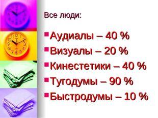 Все люди: Аудиалы – 40 % Визуалы – 20 % Кинестетики – 40 % Тугодумы – 90 % Бы