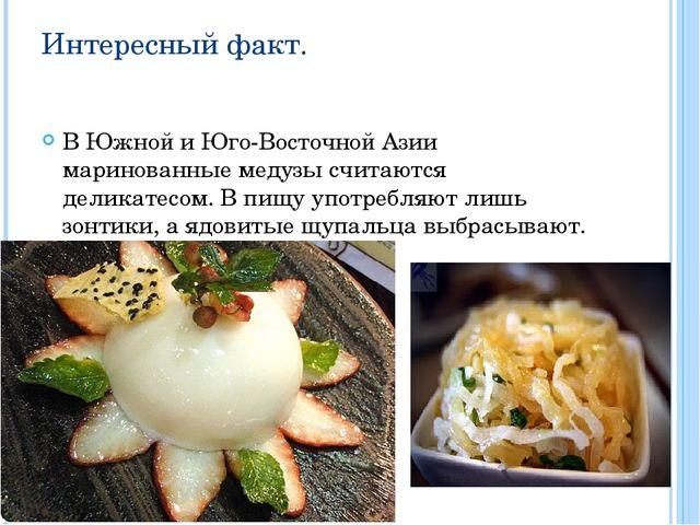 Интересный факт. В Южной и Юго-Восточной Азии маринованные медузы считаются д...