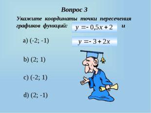 Вопрос 3 a) (-2; -1) b) (2; 1) c) (-2; 1) d) (2; -1) Укажите координаты точки