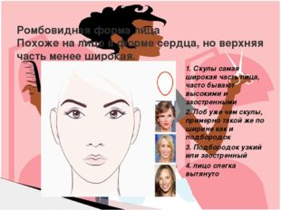Выбрать три формы лица и разработать полные рекомендации для коррекции недост