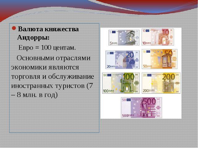 Валюта княжества Андорры: Евро = 100 центам. Основными отраслями экономики яв...