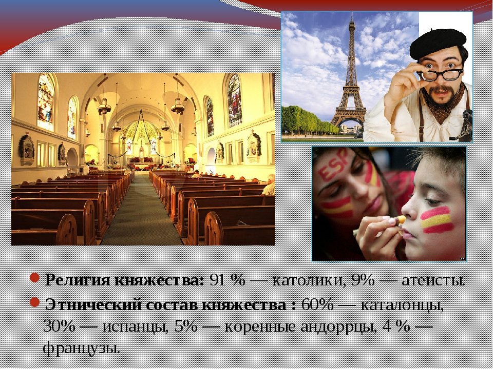 Религия княжества:91 % — католики, 9% — атеисты. Этнический состав княжества...