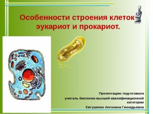 Особенности строения клеток эукариот и прокариот. Презентацию подготовила учи