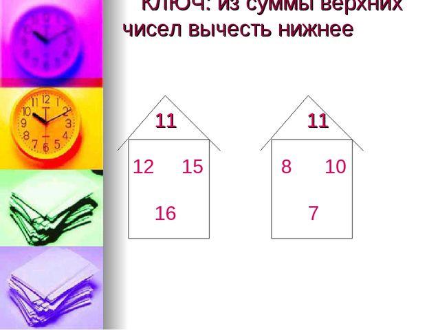 КЛЮЧ: из суммы верхних чисел вычесть нижнее 11 11 12 15 16 8 10 7