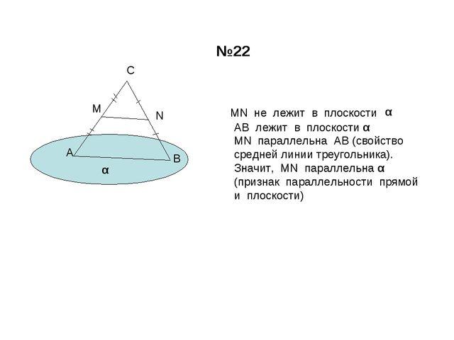 А В С М N MN не лежит в плоскости α α АВ лежит в плоскости α MN параллельна А...