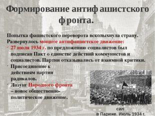 Формирование антифашистского фронта. Попытка фашистского переворота всколыхну