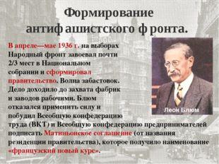 Формирование антифашистского фронта. В апреле—мае 1936 г. на выборах Народный