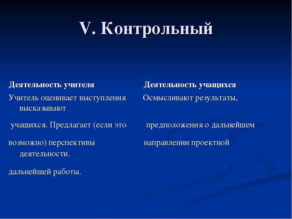 V. Контрольный Деятельность учителя Деятельность учащихся Учитель оценивает в...