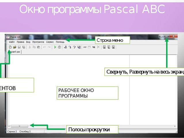 Окно программы Pascal ABC РАБОЧЕЕ ОКНО ПРОГРАММЫ Свернуть, Развернуть на весь...
