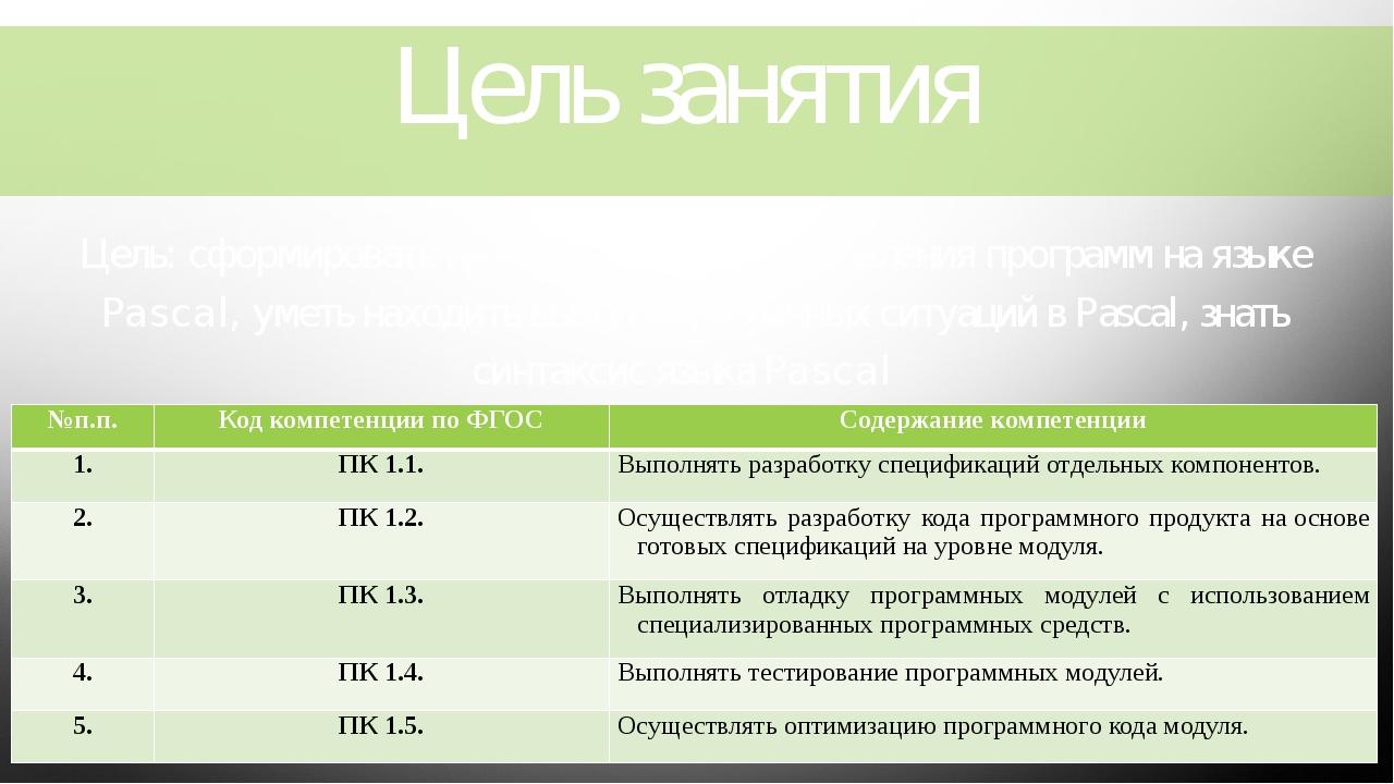 Цель занятия Цель: сформировать начальные навыки составления программ на язык...