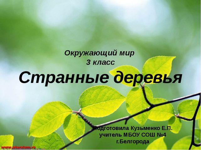 Окружающий мир 3 класс Странные деревья Подготовила Кузьменко Е.П. учитель МБ...
