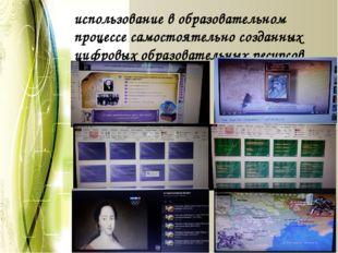 использование в образовательном процессе самостоятельно созданных цифровых об