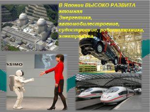 В Японии ВЫСОКО РАЗВИТА атомная Энергетика, автомобилестроение, судостроение,