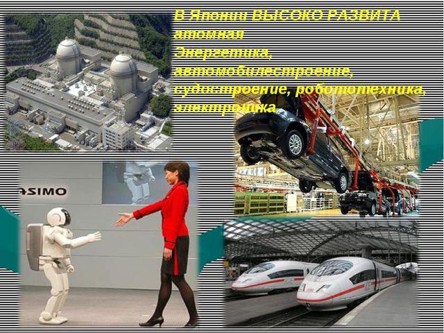 В Японии ВЫСОКО РАЗВИТА атомная Энергетика, автомобилестроение, судостроение,...