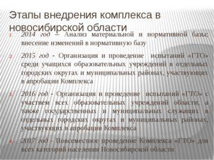 2014 год – Анализ материальной и нормативной базы; внесение изменений в норма