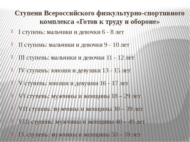Ступени Всероссийского физкультурно-спортивного комплекса «Готов к труду и об...